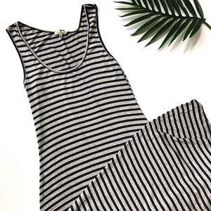 Anthropologie Bordeaux striped maxi dress